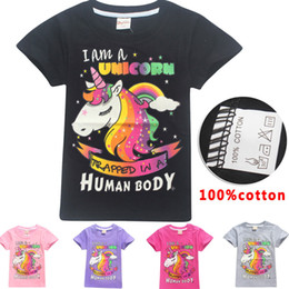 Wholesale Long Sleeve Shirts For Kids - 5 Color Girls INS Unicorn t shirt 2018 New Children fashion cotton Short sleeve t shirt Baby kids clothing for 6~14years BBA169