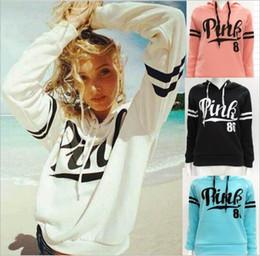 Wholesale Womens Sweaters Xl - Pink Hoodies Pink Letter Jackets Women Sweatshirts Long Sleeve Sweater Casual Coat Print Pullover Sport Fleeces Hoody Womens Clothing B3800