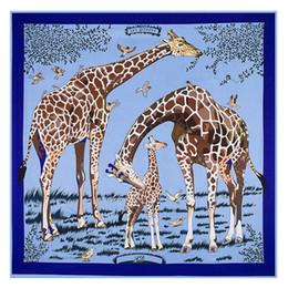 Canada 130cm * 130cm Haute Qualité Grand Carré Foulards Châles, Marque De Luxe H Lettre Les girafes Imprimer Twill Foulard En Soie Pour Femmes Bandeau S18101904 cheap large square women scarves Offre