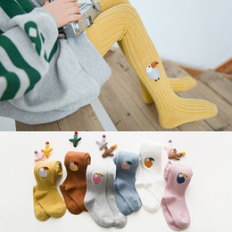 Wholesale Parrot Babies - 1-7Yrs Children Tights Cotton Baby Girl Pantyhose Kid Infant Knitted Collant Infant Clothing cartoon Parrot Embroidery Baby Leggings