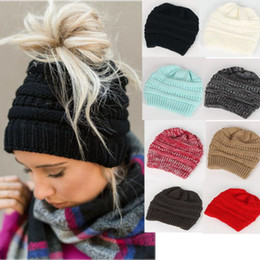 Wholesale Wholesale Ribbed Knit Beanies - Girls Knitted Cap Casual Beanies Children Messy Bun Ponytail Beanies Skullies Warm Winter Hats Solid Ribbed Hat