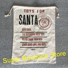 Canada En gros vente chaude monogramme personnaliser nouveau style toile sac de santa bonne qualité jouets de retour à santa sac sac sacs de cadeau de Noël de santa Offre