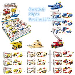 Wholesale Built Aircraft Models - 4 models Hsanhe display box Series 2 in 1 mulit-change fire truck Model Building Blocks Set DIY Educational plane aircraft bricks #6016