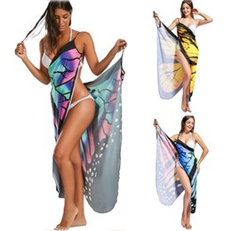 Wholesale free butterfly prints - Backless Butterfly Floral Beach Tunic Sexy V Neck Print Beach Shawl Dress Bikini Cover Summer Dersses Wraps Bathing Sarong Robe AAA65