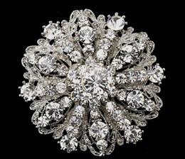 Wholesale Wedding 98 - 2018 12mm Vintage Style Rhodium Silver Tone Large Size Flower Rhinestone Diamante Crystal Brooch for Women 98