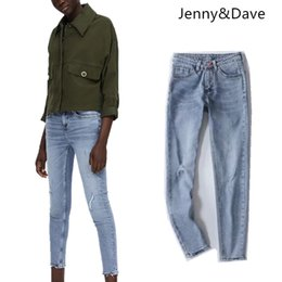 74545ffc810 Jenny Dave jeans women high street soft jeans patch pencil calf-length  ripped vintage washed jeans for women plus size 0926