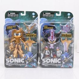 Wholesale Action Sword - 2pcs set Sonic the Hedgehog Toy Black Knight Excalibur Sonic Sir Lancelot with Shadows Sword PVC Action Figure Toy