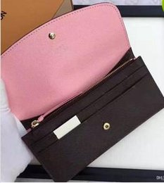 Wholesale Ladies Shoulder Long Bag - 2017 Free shipping Wholesale lady multicolor coin purse long wallet colourfull Card holder original box women classic zipper pocket 60138