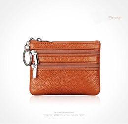 Wholesale Korean Car Styling - Women Leather Zipper Key Bags Car Key Case Portable Coin Bags 11 Color 9*11CM R093