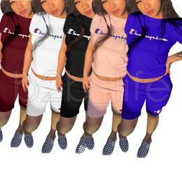 Wholesale black tees wholesale - Champions Letter Shorts Tracksuit Short T Shirt Tees Short Pants 2PCS Set Casual Outfit Jogger Sportswear Gym Suit Women 6pcs AAA635
