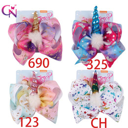 kids hair accessories Promo Codes - 8 Inch Jojo Bows Leather Hair Clip Big Mermaid Hair Bow Kid Hair Accessories Birthday Party Supplies