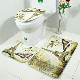 Wholesale pour home - Anti-slip Bathroom And Toilet Mat Set 3 pcs set Toilet Rugs tapis pour wc Europe Style Toilet Rugs Bath Mat Home Bathroom Decoration
