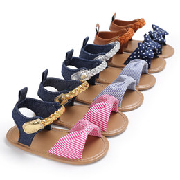 Wholesale hook loop dots - Baby Girl Sandals Summer Cotton Canvas Dotted Bow Baby Girl Sandals Newborn Baby Shoes Playtoday hot sale