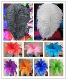 Wholesale black feather plume - Wholesale 14-16inch White black red pink blue yellow green purple rose Ostrich Feather Plumes for Wedding centerpiece table centerpiece