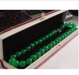 "Wholesale huge silicone - 18""elegant HUGE 10MM NATURAL circular AAA+++ GREEN JADE NECKLACE"