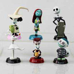 Figuras de barro on-line-6 pçs / set o pesadelo antes do natal Henry Selick Clay animação Jack Sally Shock zero cabeça Knock Bobble cabeça figura brinquedos