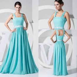 Wholesale discount chiffon dresses - Discount Chiffon Bridesmaids Dresses For Summer Beach Weddings A Line Beaded Sash Women Occasion Evening Gowns WD1-016