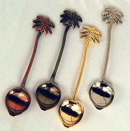 decorazioni del partito di ghiaccio Sconti Vintage royal style Coconut Tree Tea Coffee Spoon Ice Cream Piccola decorazione in lega di zine regalo per Bar Party GA444