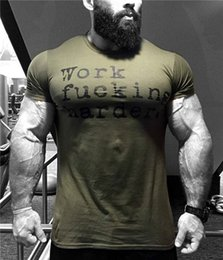 Wholesale t shirt muscle print - NEW Summer Muscle Men Tshirt Fitness All-cotton Short Sleeve T-shirt Breathable Men's Casual Fitness Clothes