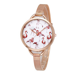 Assista cinto rosa para mulheres on-line-Venda quente 4 Cores Rosa Flamingo Liga de Aço Fino Cinto De Malha Relógio de Pulso Presente Para Casal Homem mulher