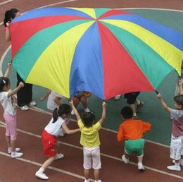 Wholesale jumping animals toys - 2M 78inch Child Kid Sports Development Outdoor Rainbow Umbrella Parachute Toy Jump-sack Ballute Play Parachute hot Promotion