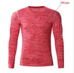Wholesale Snow White Shirts - New 2018 autumn winter high stretch snow red blue grey GYM Fitness sports basketball long sleeve t shirt tight men