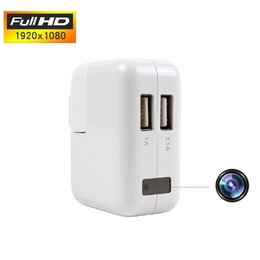 Wholesale Nanny Camera Hidden - Wall Charger Hidden Camera With Dual Port USB Adapter Power Plug Home Security 1080P HD Mini DV Nanny Camcorder Cam