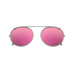 Clip polarizado de los vidrios de conducción online-Clip polarizado redondo en gafas de sol Unisex Pink Coating Mirror Gafas de sol Driving Metal Oval Shade Clip en gafas uv400