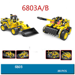 Wholesale Tank Models Toys - New building blocks, double model engineering cars, mechanical drive forklift and tank puzzle toys