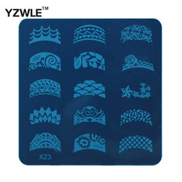 Wholesale x stamp - Wholesale- (YZWLE) 1 Sheet 2016 New Styles 6.2cm Square Stainless Steel Stamping Nail Art Image Plate Polish Manicure Stencil Tool (X-23)