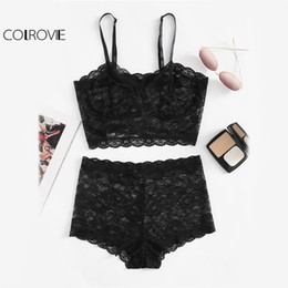 Wholesale blazers wholesale - COLROVIE Floral Lace Bustier 2 Piece Set Women Black Cami Crop Top With Shorts Fitness Set 2017 Vintage Sheer Sexy Two Piece
