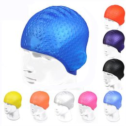 Wholesale particle design - 2018 Summer Swimming Cap Waterproof Particles Design Excellent Elastic Silicone Ear Covers Protection Free size for Men & Women