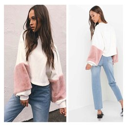 Wholesale Types Women Sweaters - 2018 New Women's Shirt Plush Loose Short Solid Color Round Neck Collar Straight-type Long-sleeved Sweater Fashion White Mosaic Jacket