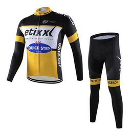Wholesale mens cycling pants pads - QUICK STEP RABOBANK team Cycling long Sleeves jersey (bib) pants sets mens quick-dry Clothing mountain bike Gel Padded ropa ciclismo C1417