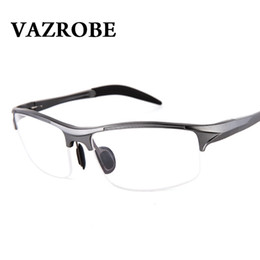 ed9abc454aa Vazrobe (146mm) Eyeglasses Frame Men Sports Spring hinge Eye Glasses Male half  rim prescription Spectacles Man myopia diopter