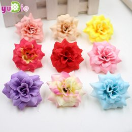 Wholesale Silk Mini Flower Heads - 20pcs lot 4cm Handmade Mini Artificial Silk Rose Flowers Heads DIY Scrapbooking Flower Kiss Ball For Wedding Decorative