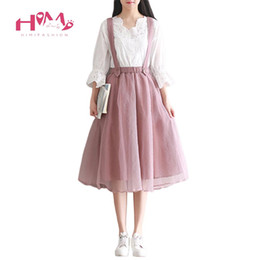 Wholesale Japanese Pink Girls - 2017 Mesh Tulle Skirt Summer Japanese Mori Girl Women Long Suspender Skirts Korean Elastic Waist Midi Tutu Lolita Pink Saias