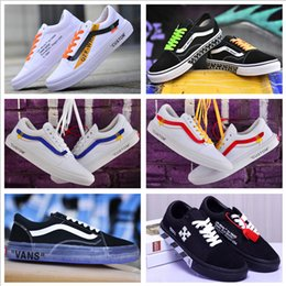 canvas shoes customs Coupons - 2018 VANSES Old Skool Canvas Casual Shoes Men Women Skateboard X Willy Sports Shoes White Black Custom Skate Sneakers Trainers Size 36-44