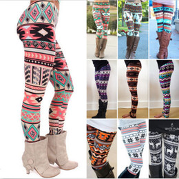 280bacdd5 2XL Christmas Snowflakes Reindeer Printed Silk Stretchy Leggings Women  Colorful Stripe Plaid Nordic Pants Girls Adult Warm Tights Large Size