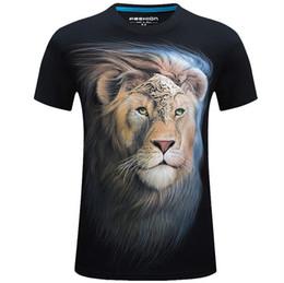 Tigre de algodão 3d on-line-Impressão S-6XL 3D T-shirt Dos Homens de Verão Animal Cobra Lobo Tigre Leão Impresso T-shirt Dos Homens de Algodão Casuais T-shirt da marca Regular