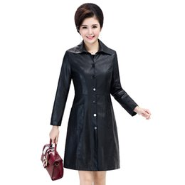 Wholesale Hot Ladies Breasts - 2018 Hot Sale Promotion Jaqueta Couro Jaqueta De Couro Mid-length Leather Lapel Ladies Jacket Color Single-breasted Trench Coat