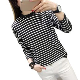 2019 tshirt rayé blanc noir 2018 Automne Vêtements Pour Femmes Style Coréen Ulzzang Harajuku BF Noir Et Blanc Rayé À Manches Longues T-shirt Femme T-shirt Top Filles tshirt rayé blanc noir pas cher