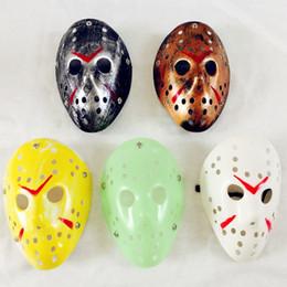Маска убийцы джейсона онлайн-Террор маски убийца выдалбливают Полихроматические бар танец карнавал Джейсон ретро Маскарад маска для Хэллоуин косплей 3 7rh УУ