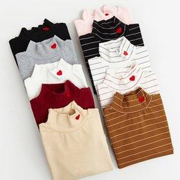 Wholesale Korean Cute Tops - 2017 women harajuku shirt rock korean funny pink kawaii tops long sleeve solid shirts retro cute embroidery love elastic t-shirt