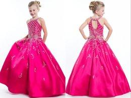 Wholesale little girls evening dresses - Hot Pink A line 2018 Halter Girls Pageant Dresses Formal Evening Prom Gowns For Little Girls Children Crystal Beaded Satin Keyhole Back