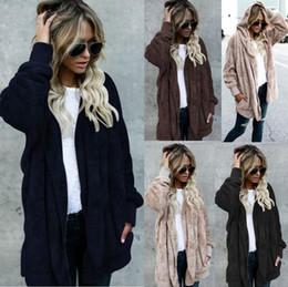 Mujeres con capucha larga chaqueta de piel sintética Chaqueta con capucha Dos desgaste lateral Parka Outwear Cardigan abrigo cálido OOA4229 desde fabricantes