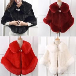 Wholesale bolero fur shrug - High Quality Faux Fur Bridal Scarf Special Occasion Evening Shawl Shrug Shawl Fall Winter Wedding Warm Coat White Black Red Burgundy