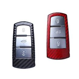 llave volkswagen cc Rebajas Caso real de la cubierta elegante de la cubierta de la llave del coche auto auto de la fibra de carbono para Volkswagen CC Magotan negro rojo