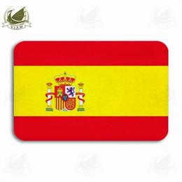 Vixm Bandiera spagnola con emblema su sfondo bianco Tappetino di benvenuto Tappetino Flanella Ingresso antiscivolo Tappeto da bagno interno da cucina da