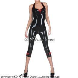 2019 traje negro atractivo de la cremallera Negro con rojo Halter Sexy Catsuit de látex con arcos Decoración Cremallera frontal de goma Body Zentai Total Body Suit LTY-0227 traje negro atractivo de la cremallera baratos